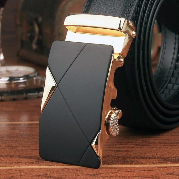 Mens Waist Strap Leather Automatic Buckle Belts Business Waistband