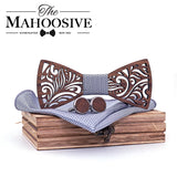 Wooden Bow Tie set and Handkerchief Bowtie Necktie Cravate Homme Noeud Papillon Corbatas Hombre Pajarita Gift for men Chirstmas