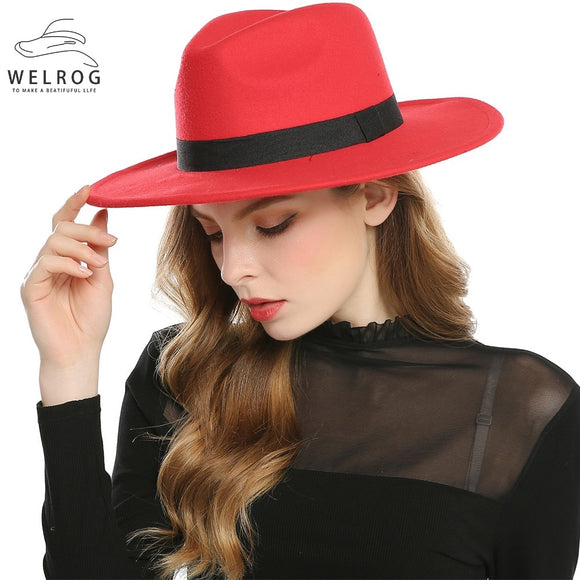 WELROG Black Red  Women Hat Winter Men Jazz Hats Trilby Chapeau Caps