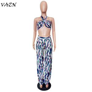 Night Club Fashion 2 Pieces Women Set Halter Bikini Full Flare Pants
