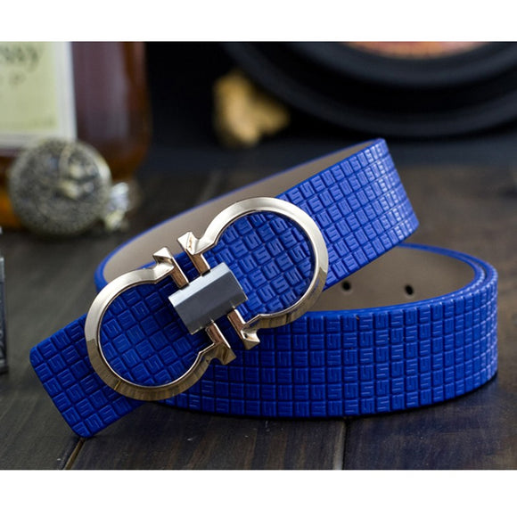 Luxury Printing Leather Smooth Pin Buckle Casual Fashion
