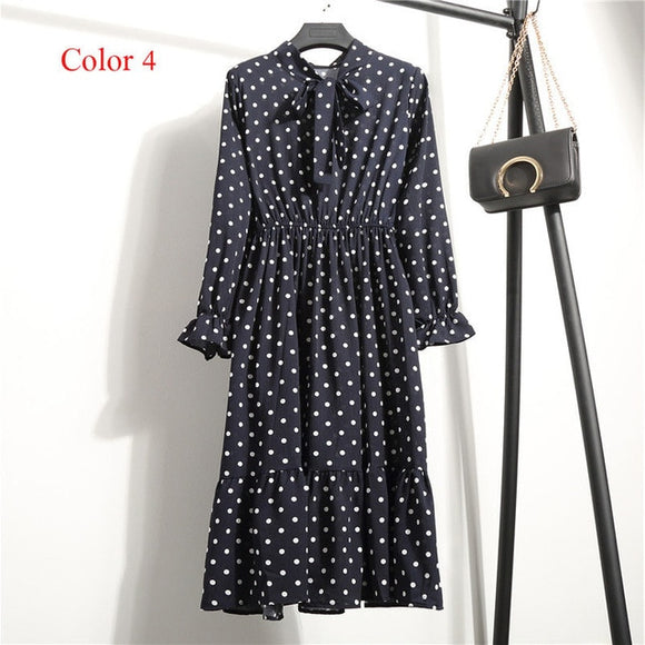 Chiffon High Elastic  Dress Bow A-line Women Dress Vestido Plus Size