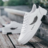 Casual Leather Flat Shoes Lace-up Low Top White Male Sneakers