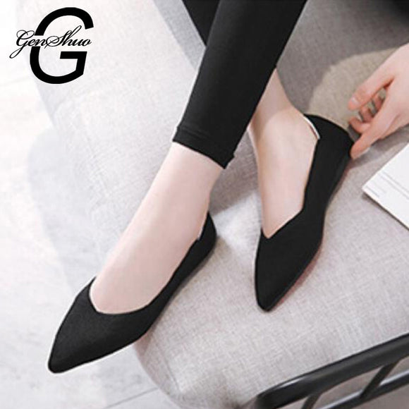 GENSHUO New Autumn Casual Flat Shoes For Women Breathable Comfortable Soft-soled Shoes Pointed Toe Flat Women Shoes Shallow Red