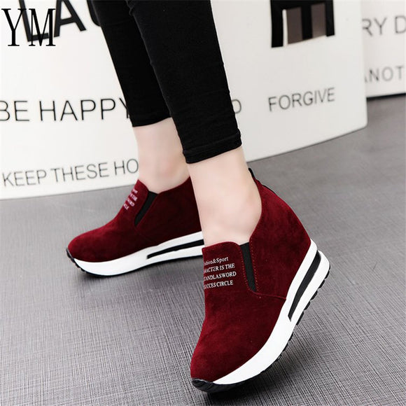 2019 Flock New High Heel Lady Casual black/Red Women Sneakers Leisure Platform Shoes Breathable Height Increasing Shoes