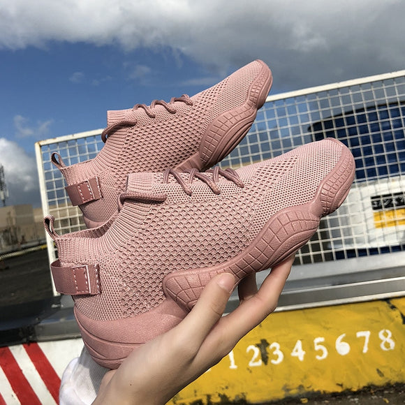 Luxury Women's Shoes Casual Fashion Sneaker Flat Platform Flyknit Stretch Fabric Ladies Shoes 2019 New Mesh Lace-up High Quality