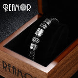 Men Black Leather Bracelet Stainless steel Bead Bracelets