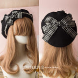 Berets Wool Blend Hat Women Bow Plaids Stripe Sailor Style Preppy Chic College Students Cap