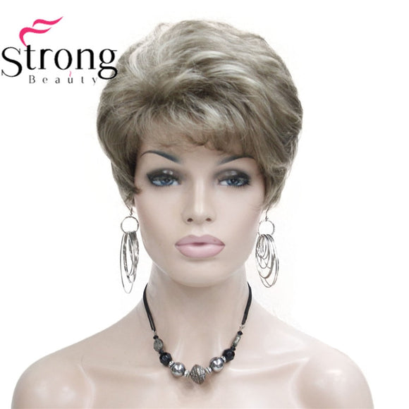 Lady Women Short Wave  Hair Wig Blonde with Highlights Full wigs