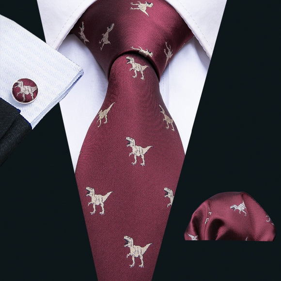 Dinosaur Pattern Red 8.5cm Business Silk Ties For Men