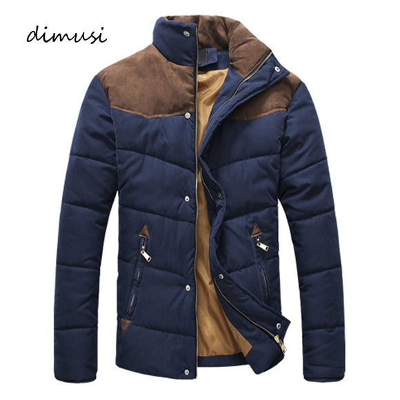 DIMUSI Men Warm Casual Parkas Cotton Stand Collar Winter Coats