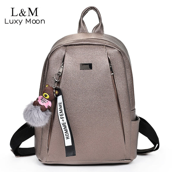 Fashion Gold Leather Backpack Women Black Vintage Large Bag For Female