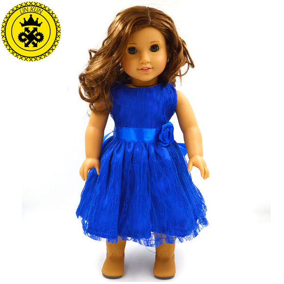 Handmade 15 Colors Princess Dress Doll Clothes for 18 inch Girl Doll Clothes and Accessories D-9