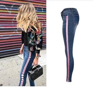 Low Waist Fashion Side Stripe Jeans High Street Push Up Calca Denim