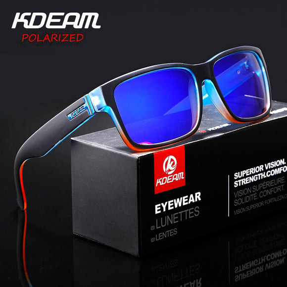 KDEAM Revamp Of Sport Men Sunglasses Polarized KDEAM Shockingly Colors Sun Glasses Outdoor Elmore Style Sunglass With Box XH1