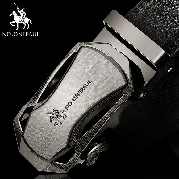 Luxury Male Genuine Leather Strap Belts Automatic Buckle black