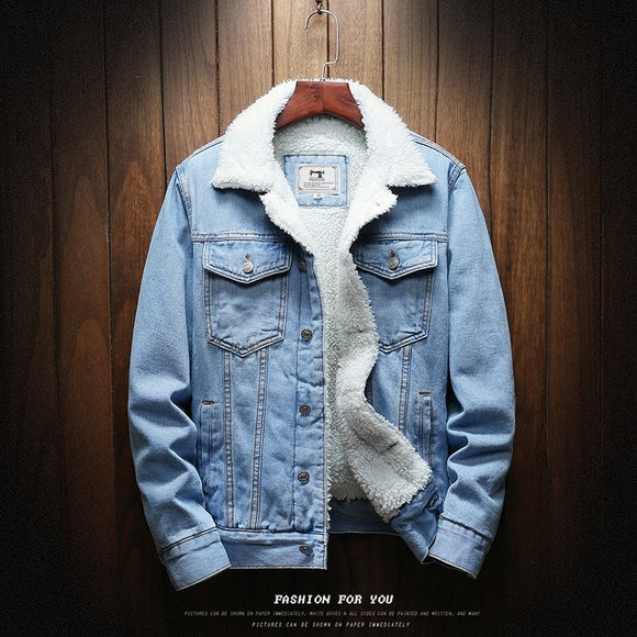 Men Light Blue Winter Jean Jackets Outerwear Warm Denim Coats