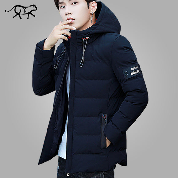 Warm Padded Hooded Overcoat Fashion Casual Down Parka Male