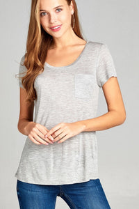 Short Sleeve Slub Top w/ Pocket - Grey