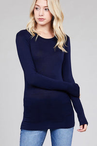 Long Sleeve Crew Neck Jersey Top