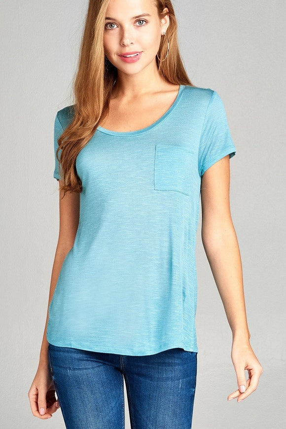 Short Sleeve Slub Top w/ Pocket - Ocean Blue