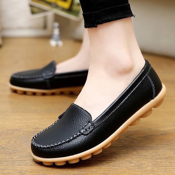 Genuine Leather Shoes Woman Soft Ladies Loafers Non-Slip Sturdy Sole