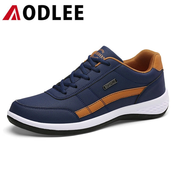 Sneakers for Men Casual Shoes Breathable Lace up Spring Leather
