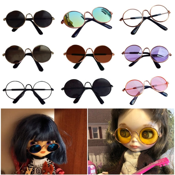 1 Pcs Doll Accessories Round Round Glasses Color Glasses Sunglasses for BJD Blyth American Grils Toy Photo Props
