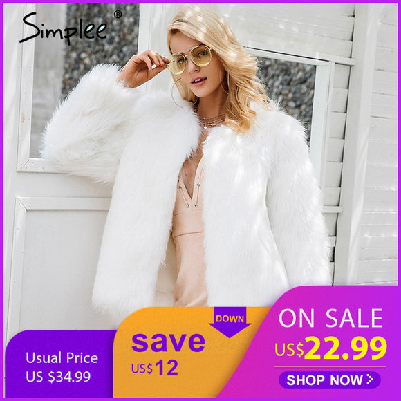 Simplee Casual coats women coat female winter clothing party overcoat