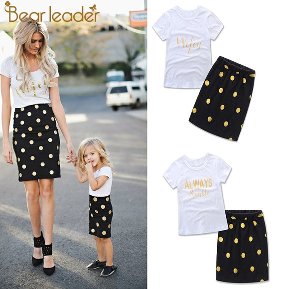 Bear Leader Mother Daughter Matching Clothes Sets Kids Short Sleeves Polka Dot T-shirt+Skirts Family Look Clothing Outfits