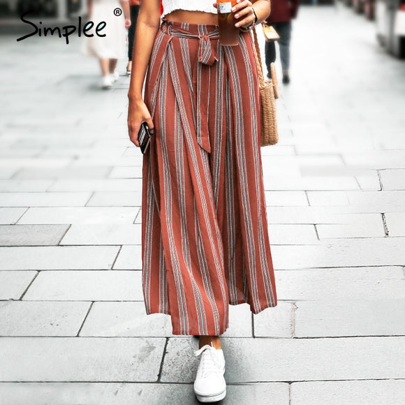 Simplee Split striped women Summer beach high pants capris female