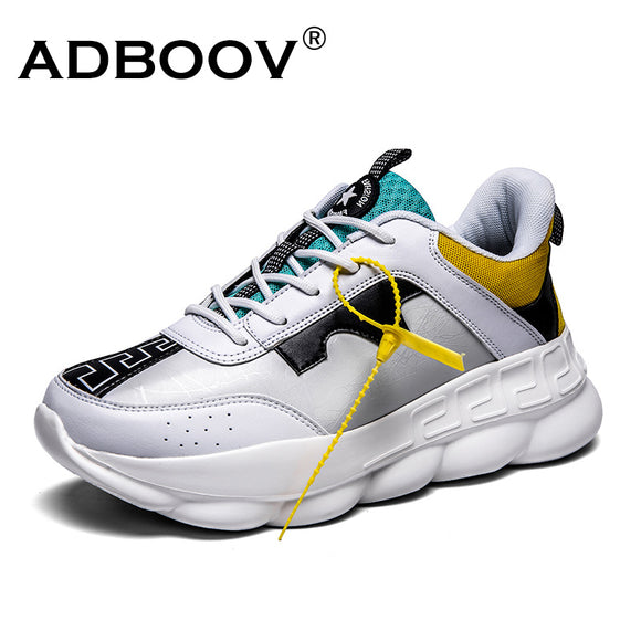 ADBOOV New PU Leather Women Sneaker Chunky Sneakers Zapatillas Sujer