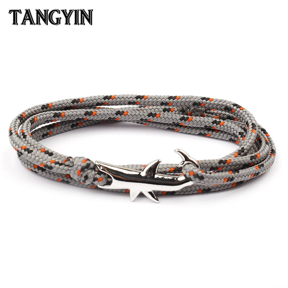 18 Colors Optional Hot Selling Viking Bracelets For Men And Women Silver Shark Multilayer Rope Bracelet Homme Femme Men Jewelry