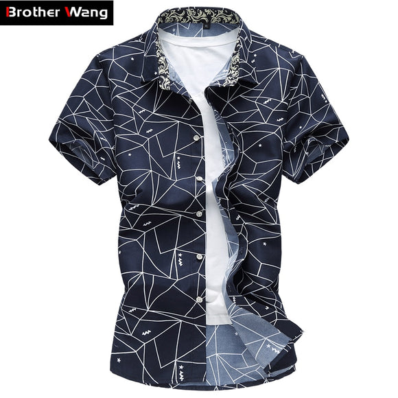 2020 New Mens Summer Shirt Fashion Plaid Printing Turn-down Collar