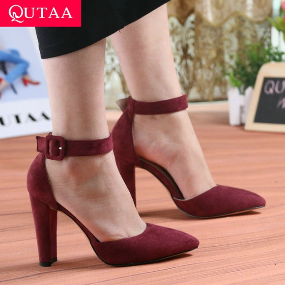 QUTAA 2019 Women Pumps Fashion Women Shoes Party Wedding Super Square High Heel Pointed Toe Red Wine Ladies Pumps Size 34-43