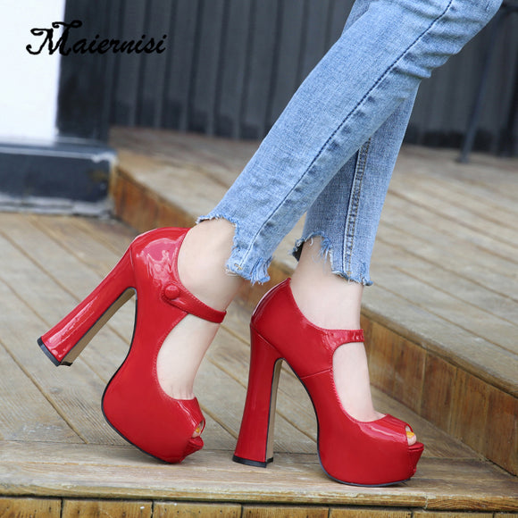 Female Shoe Platform Women Pump Solid High Heels Shoes