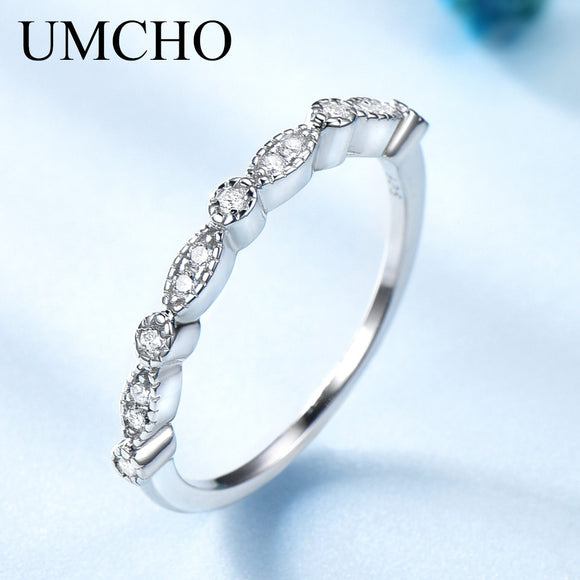 UMCHO Solid Rings For Women Stacked Wedding Engagement Ring