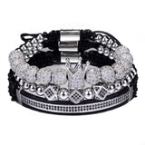 Hip Hop Gold Crown Bracelets Cubic Micro Pave CZ Ball Charm
