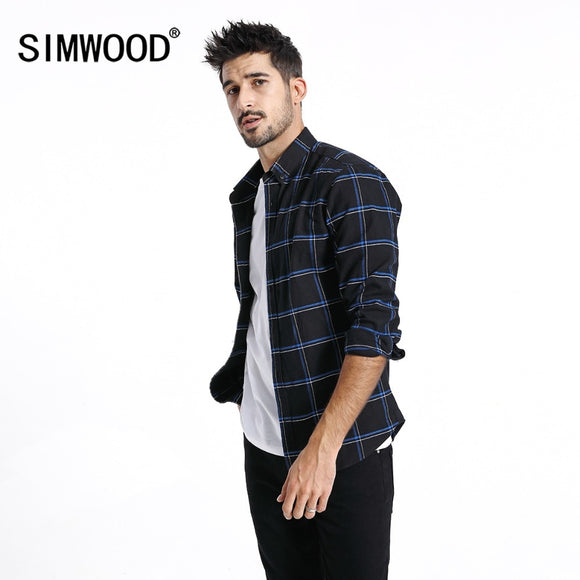 SIMWOOD Casual Shirts Men 2019 New 100% Pure Cotton Long Sleeve Plaid Shirts Male Slim Fit Plus Size camisa masculina 190008