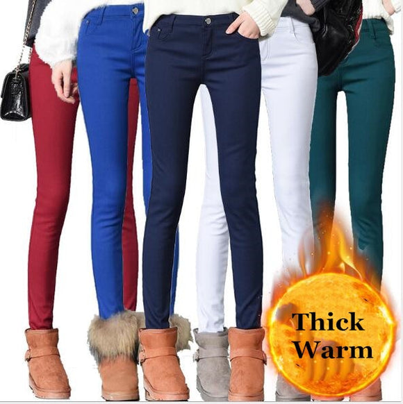 2019 Thick Pencil Pants For Women Winter Warm Skinny Femme Trousers
