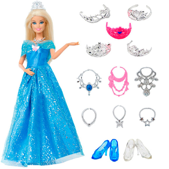14 pcs/Lot Gift Set =1x Princess Cinderella Dress +13x Accessories Crown Necklace Shoes Dancing Party Clothes For Barbie Doll