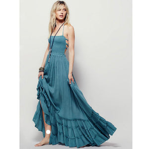Crinkly Strapless Extratropical Maxi Dress Halter Neck Tie Beach Dress