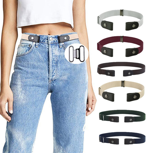 AWAYTR Unisex Buckle-Free Elastic Belt For Jeans Pants Dress Free Stretch Waist Belt For Women Men No Buckle Adjustable Belt