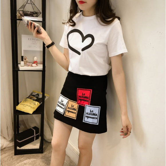 Korean Style Short Sleeved T-shirt + Skirt 2 Set Best Friends Gifts