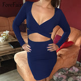 Forefair Sexy V Neck Midi Bodycon Dresses Women Autumn Winter 2018 Red Black Long Sleeve Night Club Wear Party Bandage Dress