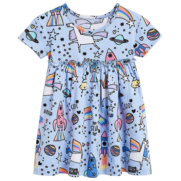 Summer Dress Gril Clothes Fashion Brand Kids Costume Printing