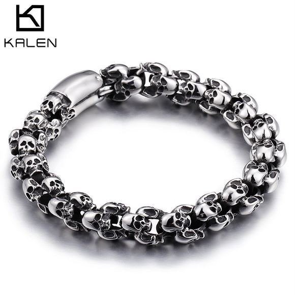 Kalen Punk Long Skull Bracelets For Men