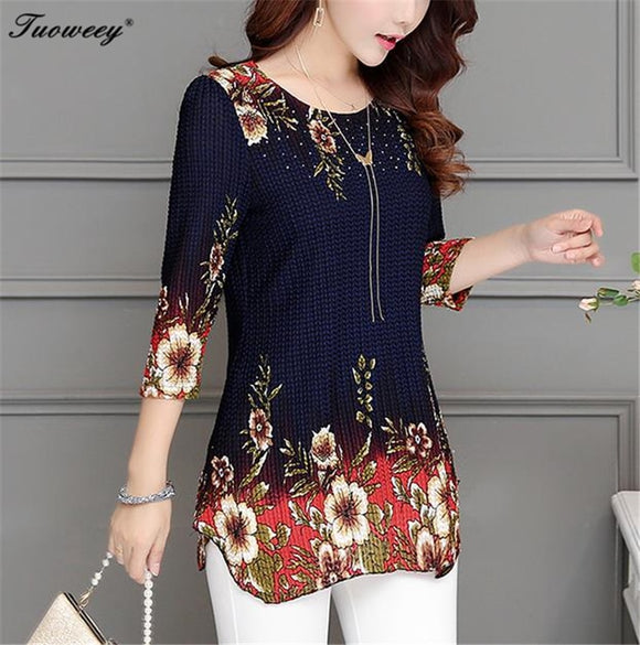 2019 New Arrival Fashion Summer Three Quarter Slim floral Three Quarter Slim floralCasual Slim Color Plus Size elegant Printed Blouse