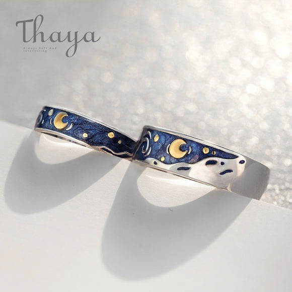 Thaya Van Gogh's Enamel couple Sky Star moon Glitter Rings For Women