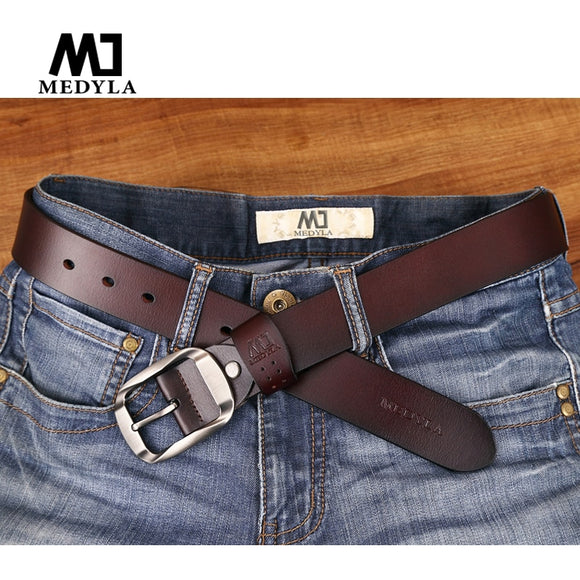 MEDYLA Dropship High Quality Genuine Leather Luxury Strap Male Belts For Men Jeans Casual Belt Pin Buckle Masculine Cummerbund